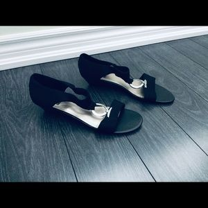3/$33 Impo Black Low Wedge Sandals